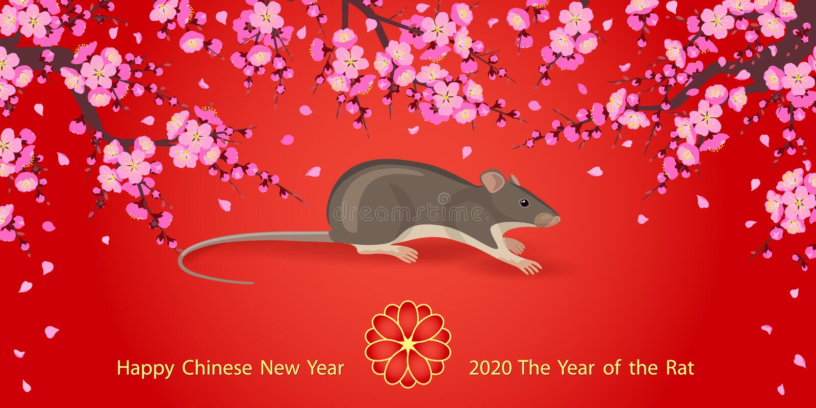 Chinese New Year of Rat  2020  Greeting Card. Greeting  New Year`s card with pink blossom branches and mouse rodent on red background. Rat is a symbol of the royalty free illustration