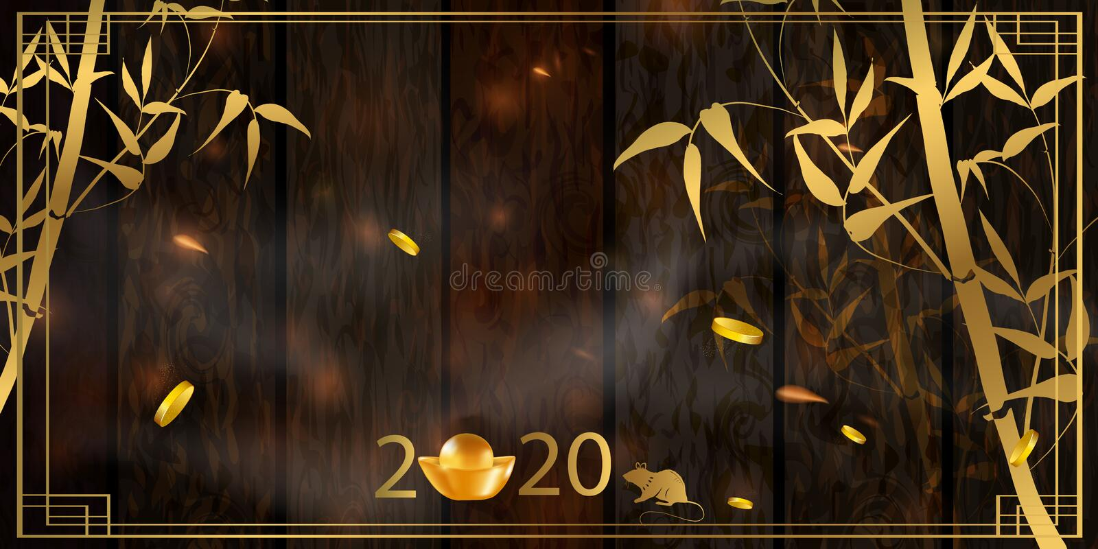 2020 Chinese New Year Rat zodiac sign. Red and gold festive background with rat. Banner, greeting card, greetings card, flyers, invitation, posters, brochure stock photo