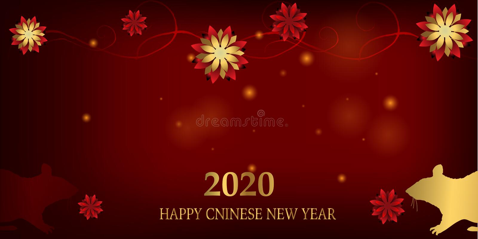 2020 Chinese New Year Rat zodiac sign. Red and gold festive background with rat royalty free illustration