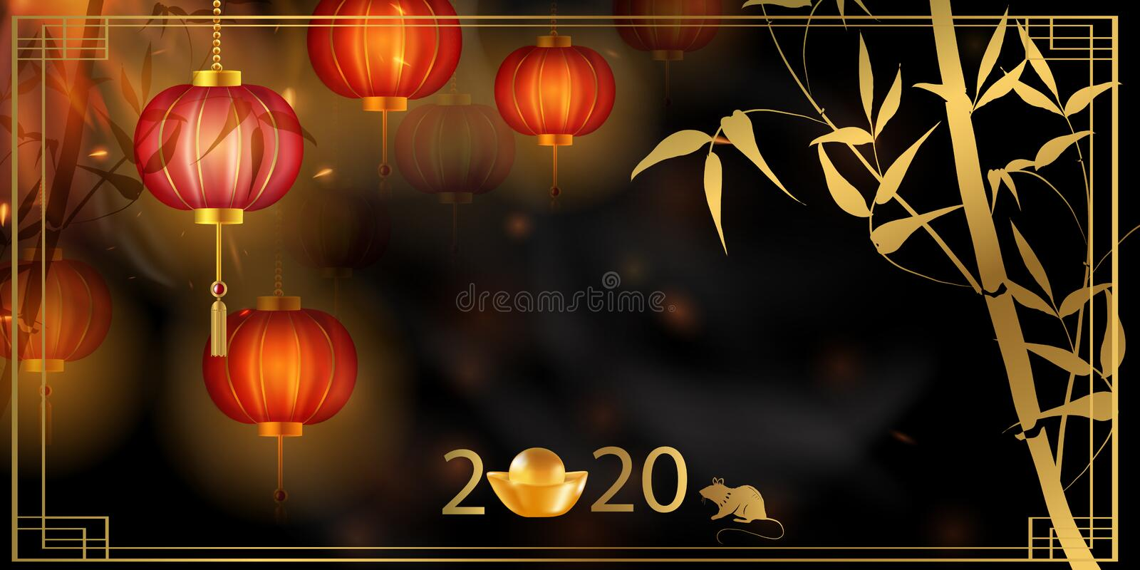 2020 Chinese New Year Rat zodiac sign. Red and gold festive background with rat. Chinese New Year Background with Lanterns and Light Effect. Banner, poster stock illustration