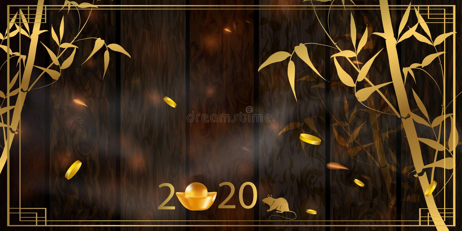 2020 Chinese New Year Rat zodiac sign. Red and gold festive background with rat. Chinese New Year Background with Lanterns and Light Effect. Banner, poster vector illustration