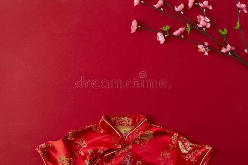 Chinese new year 2019 red backgroung. flat lay royalty free stock image