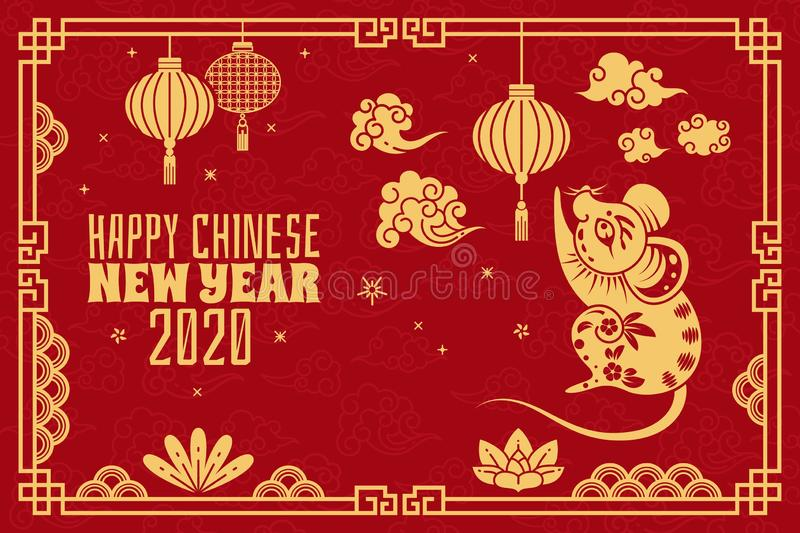Chinese new year. 2020 red concept with golden rat, traditional orient patterns. Zodiacal mouse calendar symbol vector stock illustration