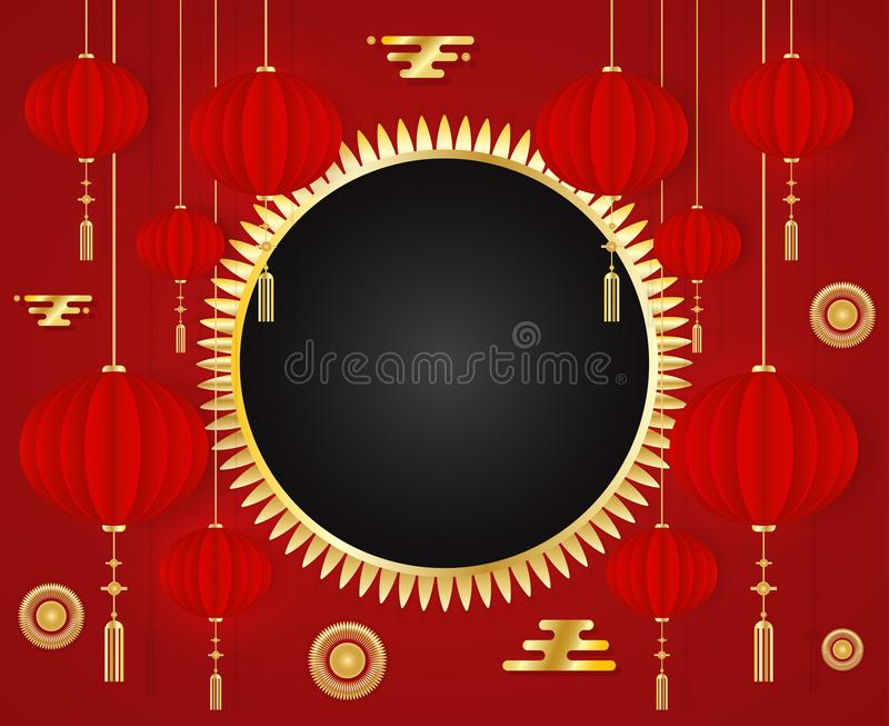 Chinese New Year 2019 red greeting card Template with traditional Asian decoration and gold elements on red background. stock illustration