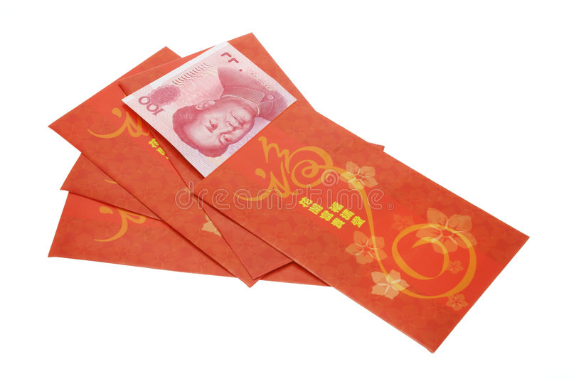 Chinese New Year red packets and Renminbi currency royalty free stock image