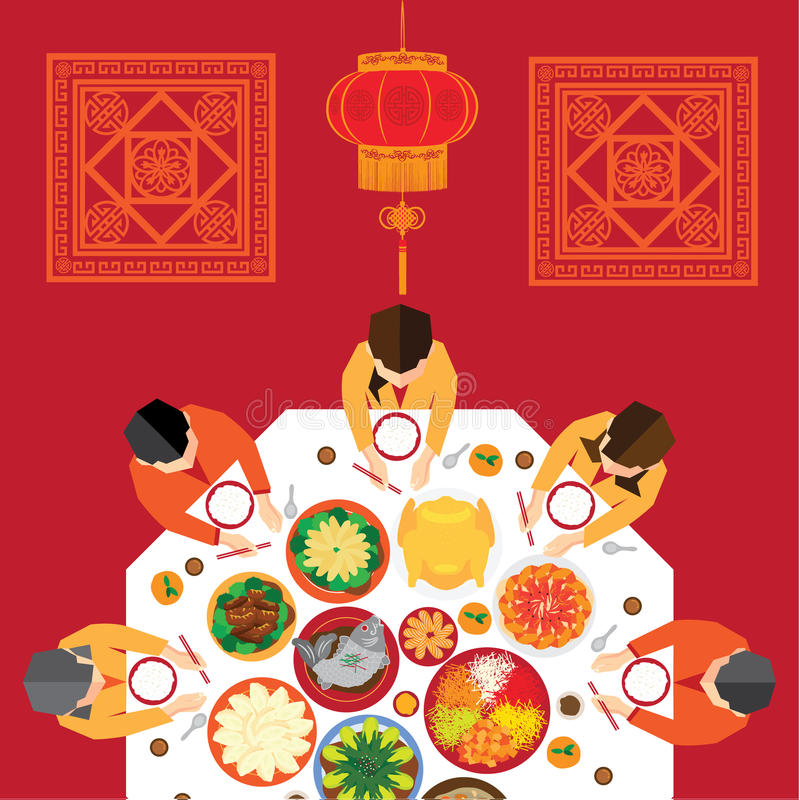 Chinese New Year Reunion Dinner. Vector Design royalty free illustration