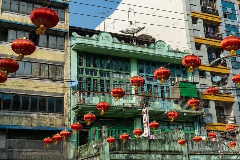 Chinese New Year`s preparation in Yangon. Colorful lanterns hung on the streets of Yangon in preparation for Chinese New Year in Yangon, Myanmar royalty free stock photo