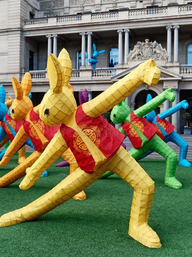 Chinese New Year Sculptures. Colourful rabbit sculpture display erected to celebrate the Chinese New Year stock photos