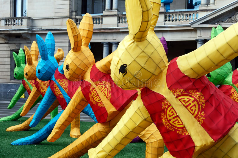 Chinese New Year Sculptures. Colourful rabbit sculpture display erected to celebrate the Chinese New Year royalty free stock photos