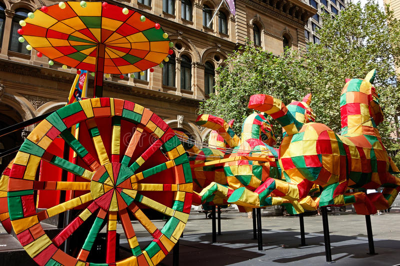 Chinese New Year Sculptures. Colourful rabbit sculpture display erected to celebrate the Chinese New Year royalty free stock images