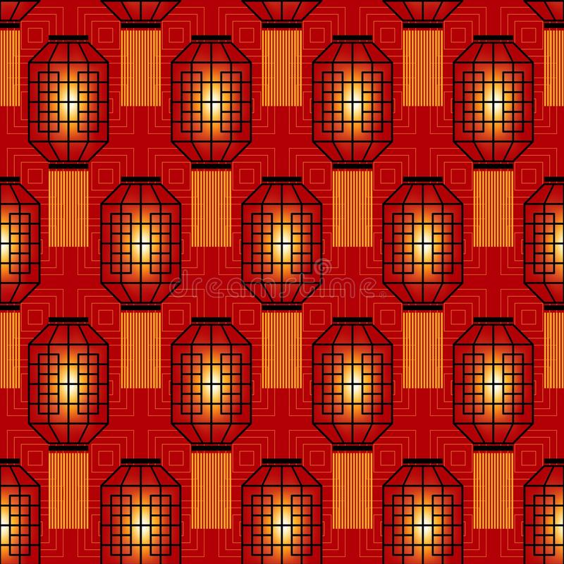 Chinese New Year Seamless Pattern with Chinese Flashlights stock illustration