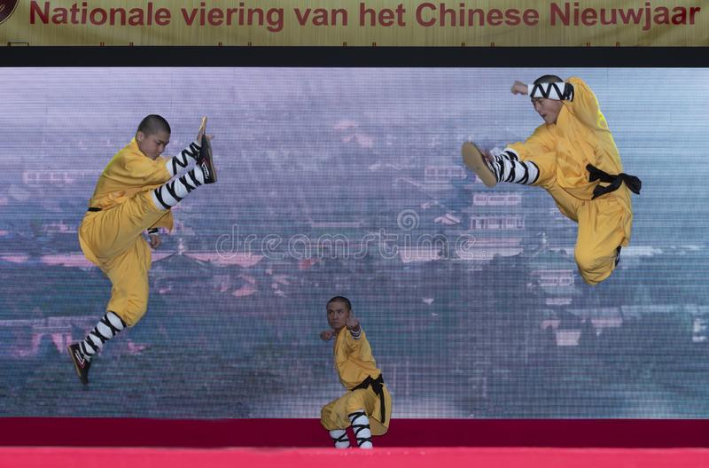 Chinese New Year 2019 - Shaolin Kung Fu. Chinese Kung Fu show and stage performance Shaolin Kung Fu from Henan Province China in the city hall premise stock image
