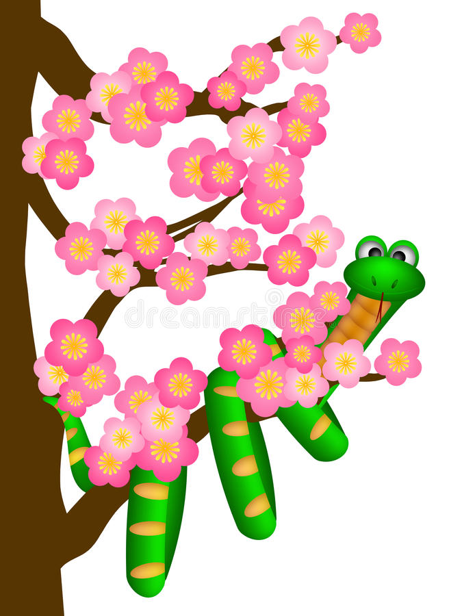 Download Chinese New Year Snake On Cherry Blossom Tree Stock Illustration - Image: 23861975