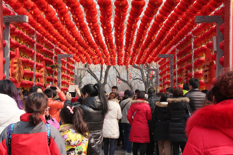 Chinese New Year/Spring Festival temple fair. Visitors enjoy the Chinese New Year/Spring Festival temple fair in Longtan Park in Beijing, China. Photo taken in stock images