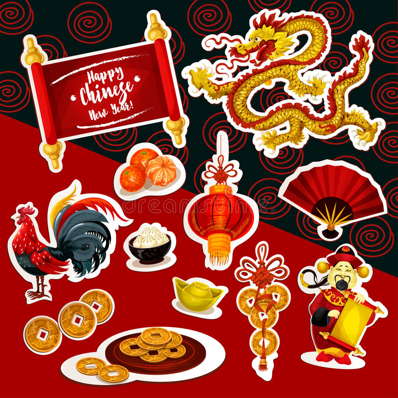 Chinese New Year sticker set with holiday symbols vector illustration