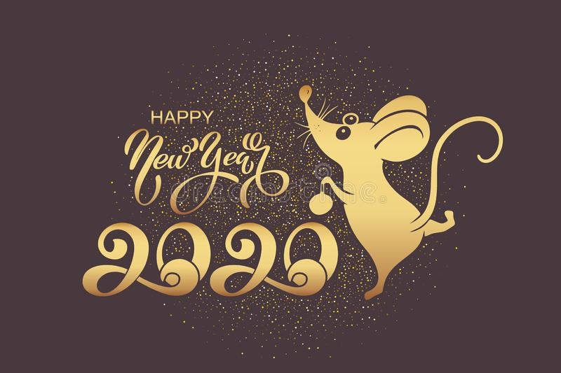 2020 Chinese New Year. Symbol of the year rat or mouse. Holiday concept - postcard or banner. Vector illustration royalty free illustration