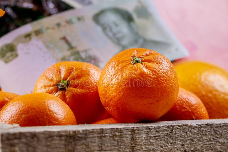 Chinese new year tangerine oranges on wooden table top royalty free stock images