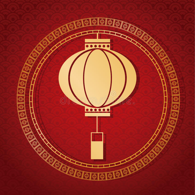 chinese new year 2017 traditional lantern golden royalty free illustration