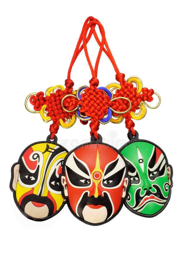 Chinese new year traditional opera mask ornaments. Colorful Chinese new year traditional opera mask ornaments on white background stock image