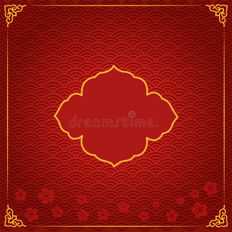 Chinese new year traditional template with red royalty free illustration