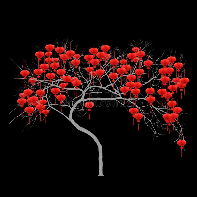 Chinese New Year - tree with red flashlights stock illustration
