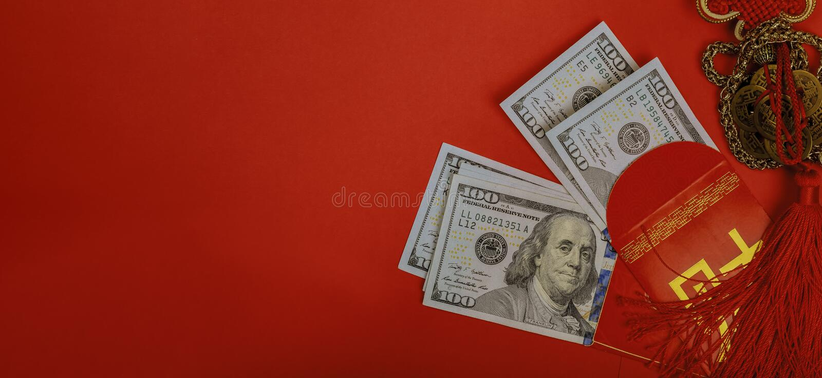 Chinese new year and US dollar money red packet royalty free stock photo