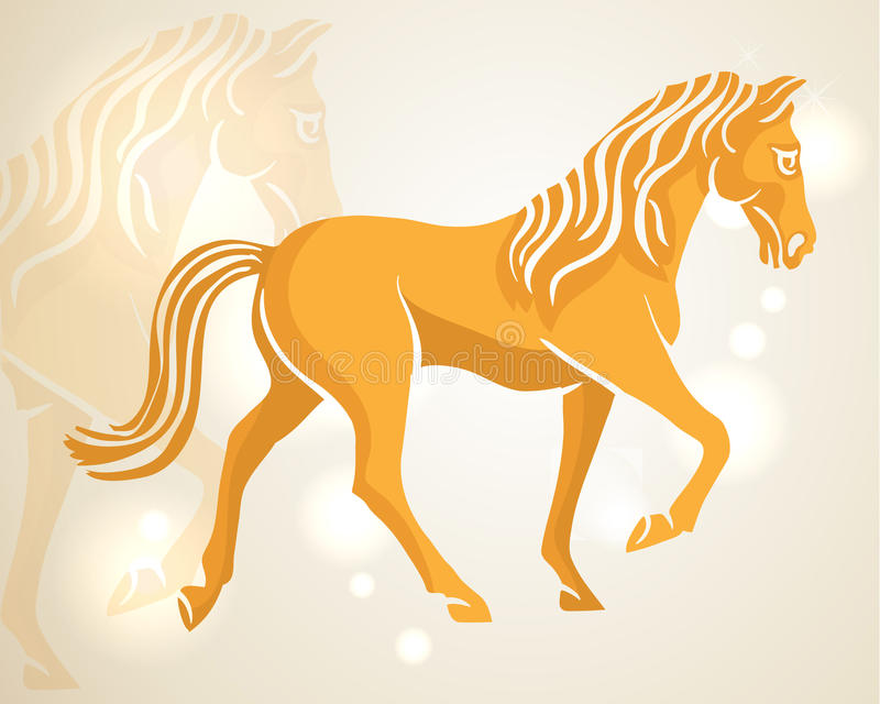 Chinese New Year 2014 walking horse. Chinese New Year of 2014 walking horse side view over lights background. EPS10 vector file with transparency layers stock illustration