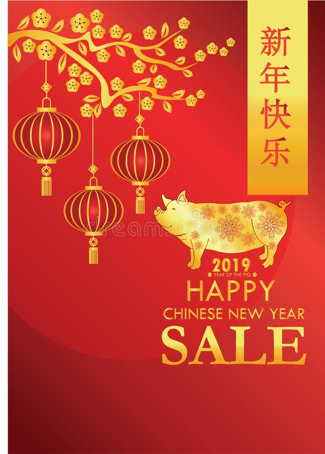 Chinese New Year 2019 - Year of Pig card design. Figure, brochure. Promotional poster for sell products. Year Of the pig - 2019 chinese new year vector vector illustration