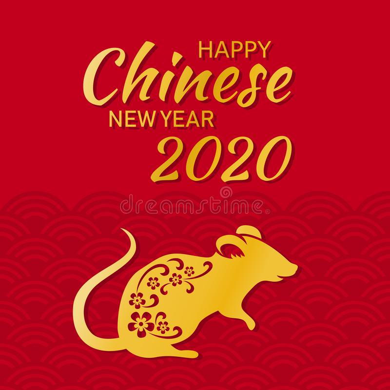 Chinese new year 2020 year of the rat vector illustration