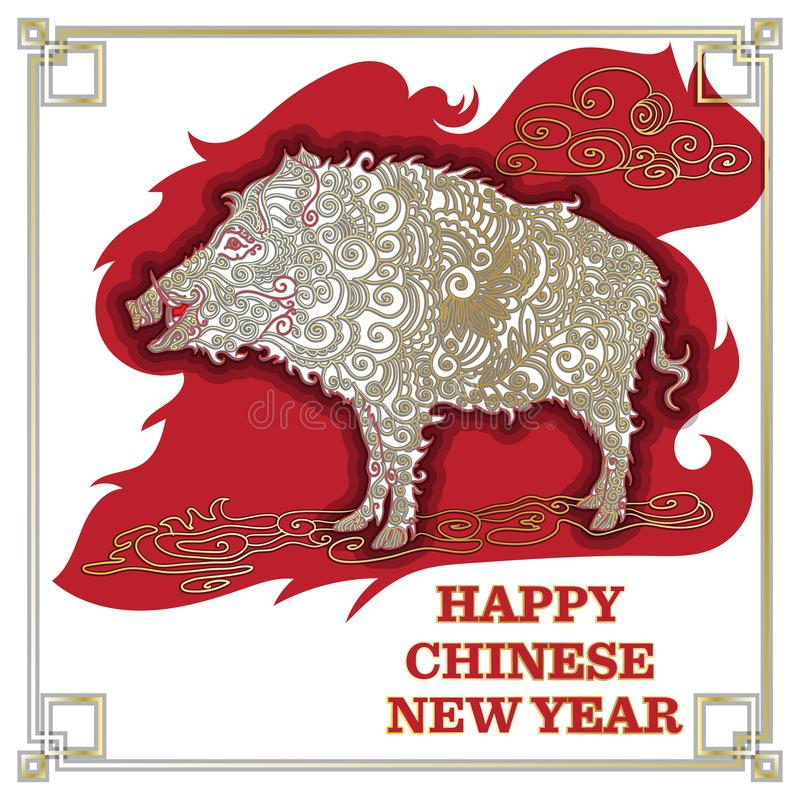 Chinese New Year 2019. Zodiac Pig. Happy New Year card, pattern. Vector illustration. Chinese traditional Design, golden vector illustration