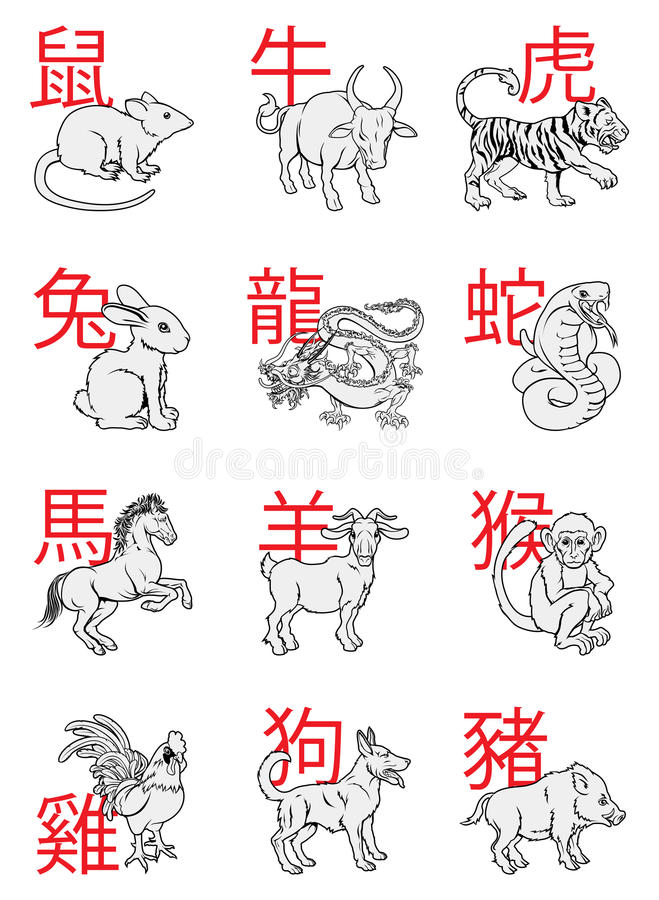 Chinese New Year Zodiac Signs vector illustration