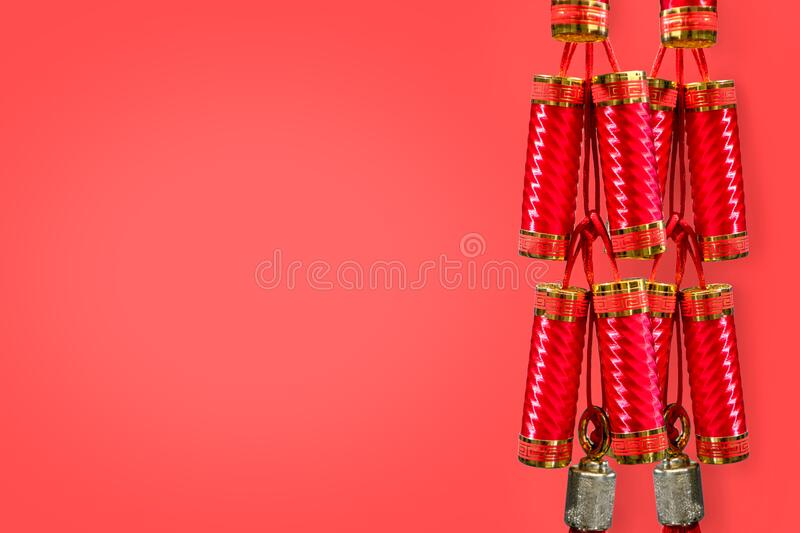 Chinese New Years decorations on red background. Close up Chinese New Years decorations on red background royalty free stock image