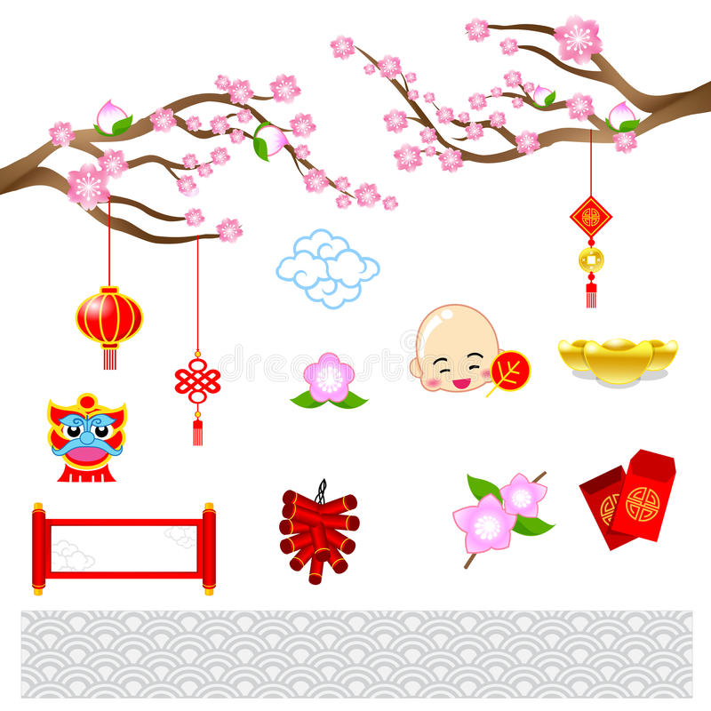 Chinese nieuwe jaar moderne kunst met Chinese stijl voor decoratie ve vector illustratie