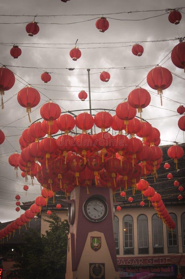 Chinese nieuwe jaarlampion bij pasar gede royalty-vrije stock fotografie