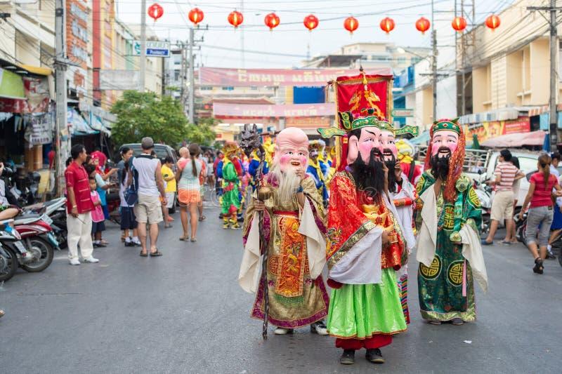 Chinese nieuwe jaarviering in Thailand stock afbeeldingen