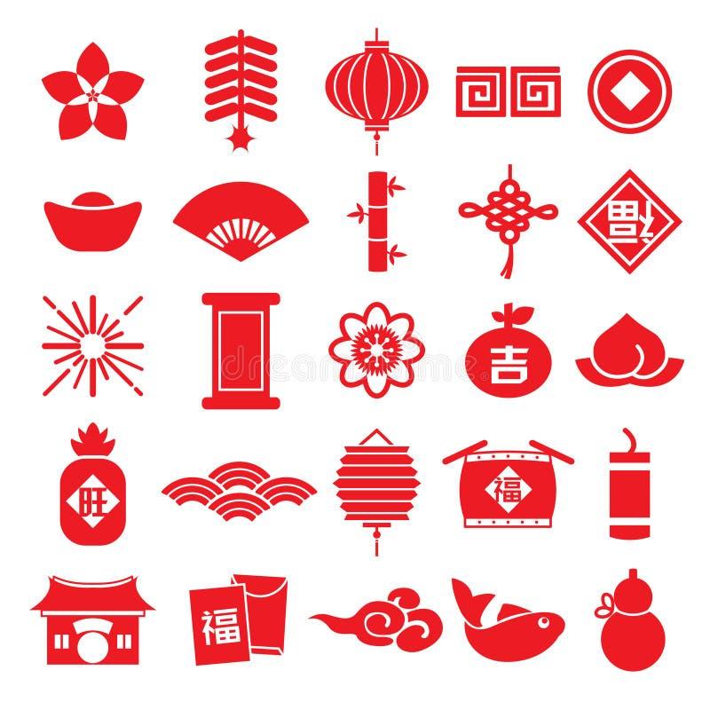 Chinese nieuwe van het het patroonelement van het jaarpictogram naadloze vector Chinese Vertaling als achtergrond: Gelukkig Chine royalty-vrije illustratie