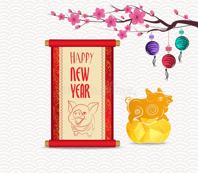 Chinese Nieuwjaar feestelijke vectorkaart met rol en Chinese kalligrafie 2019 royalty-vrije illustratie
