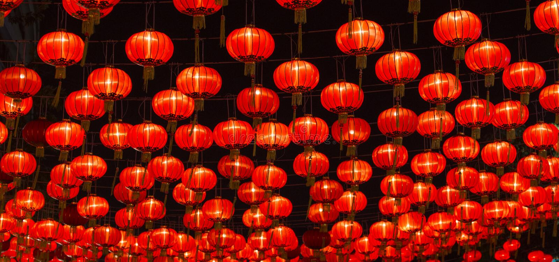 Chinese Nieuwjaarlantaarns stock fotografie