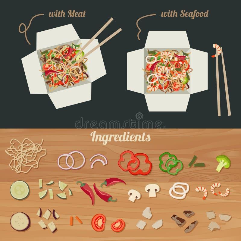 Chinese noedels met ingrediënten vector illustratie