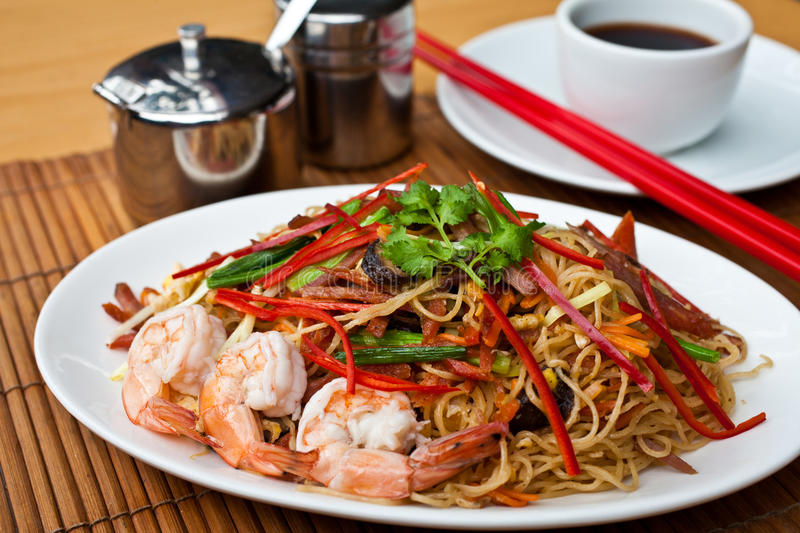 Chinese Noodle2. Chow mein, Chinese Noodle, is an American Chinese stir-fried dish consisting of noodles, shrimp, and cabbage and other vegetables stock image