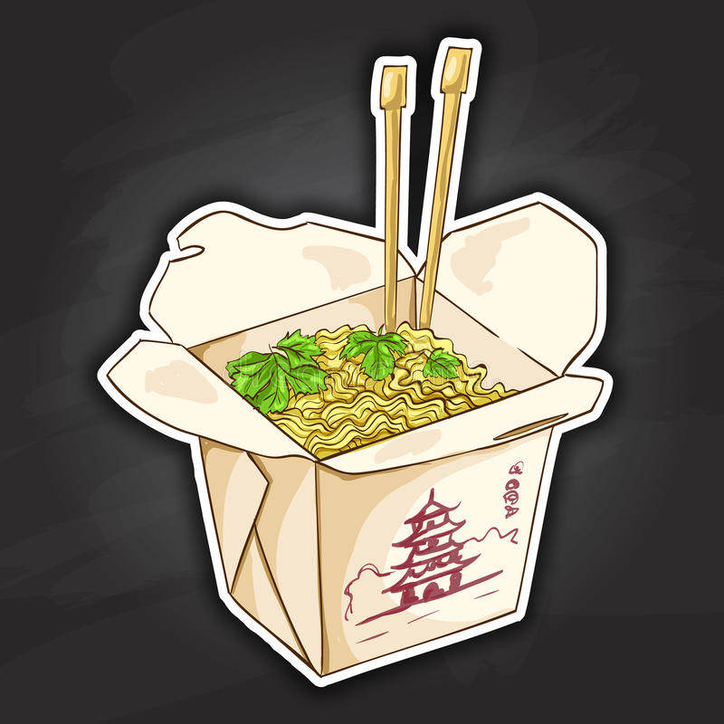 Free Chinese Noodles Box Color Picture Sticker Royalty Free Stock Photo - 73823765