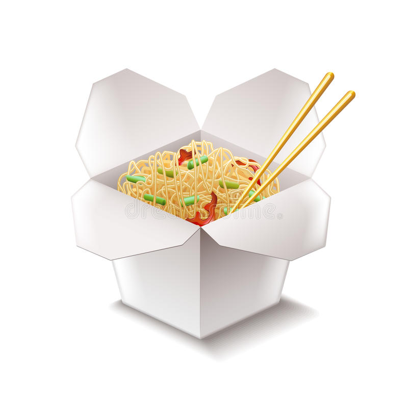 Chinese noodles isolated on white vector royalty free illustration