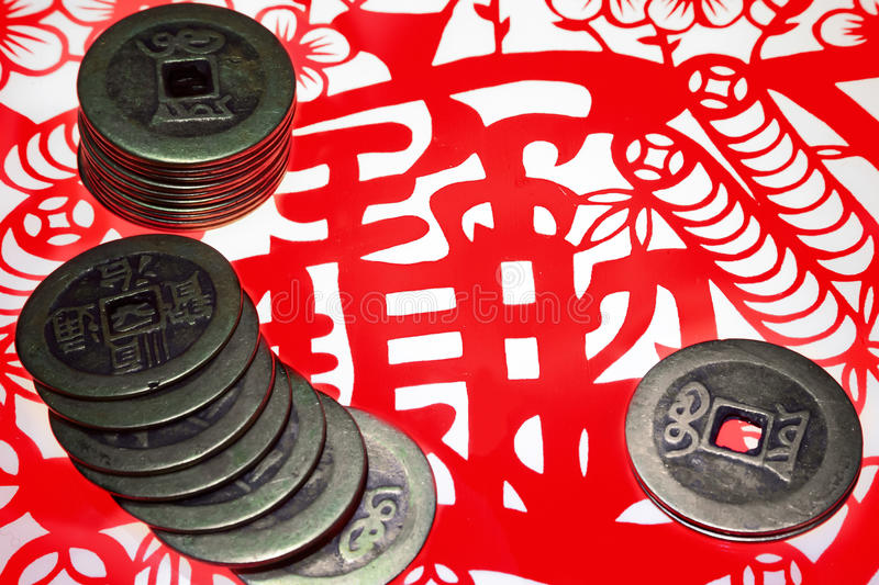 Download Chinese Old Copper Coins And Paper-cut Stock Photo - Image: 29311058