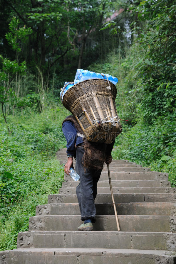 Download Chinese Old Man Carry Bottled Water Editorial Image - Image: 25576405