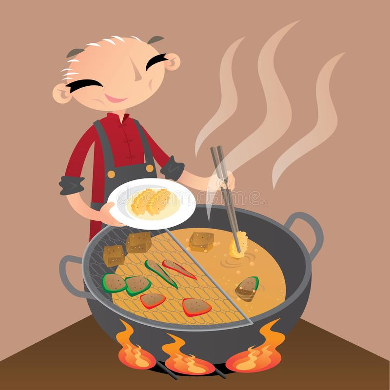 A Chinese old man preparing some street snacks by deep-frying them in a big wok. Vector illustration of a Chinese old man preparing some street snacks by deep vector illustration