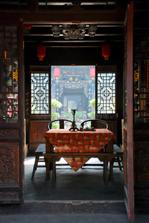 Old style living room. Chinese old style living room stock photo