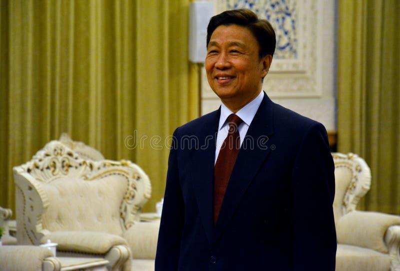 Chinese Ondervoorzitter Li Yuanchao tijdens de vergadering stock afbeelding