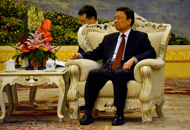 Chinese Ondervoorzitter Li Yuanchao tijdens de vergadering royalty-vrije stock fotografie