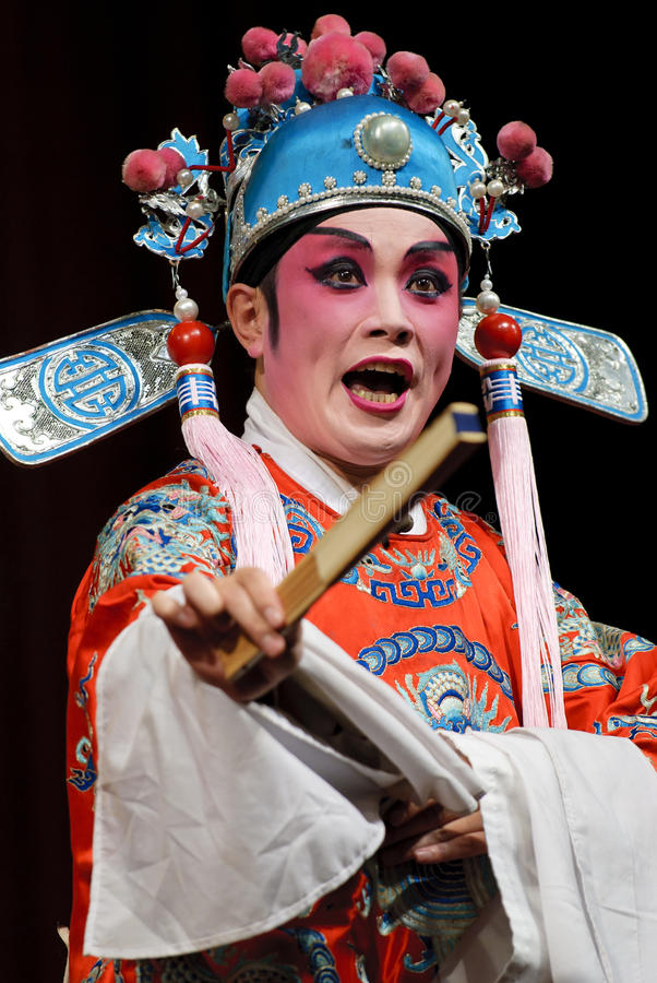 Chinese opera actor. Perform on stage stock images