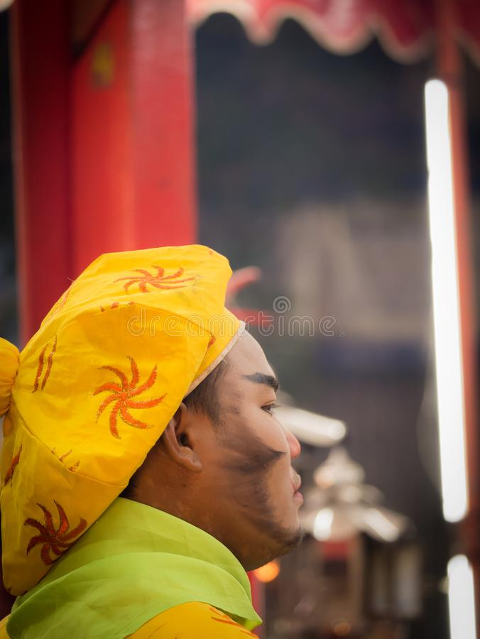 Chinese Opera Actor Celebration of The City Pillar Shrine. 23 Dec`17 Surin Province Thailand : Chinese Opera Actor Celebration of The City Pillar Shrine in front stock photos